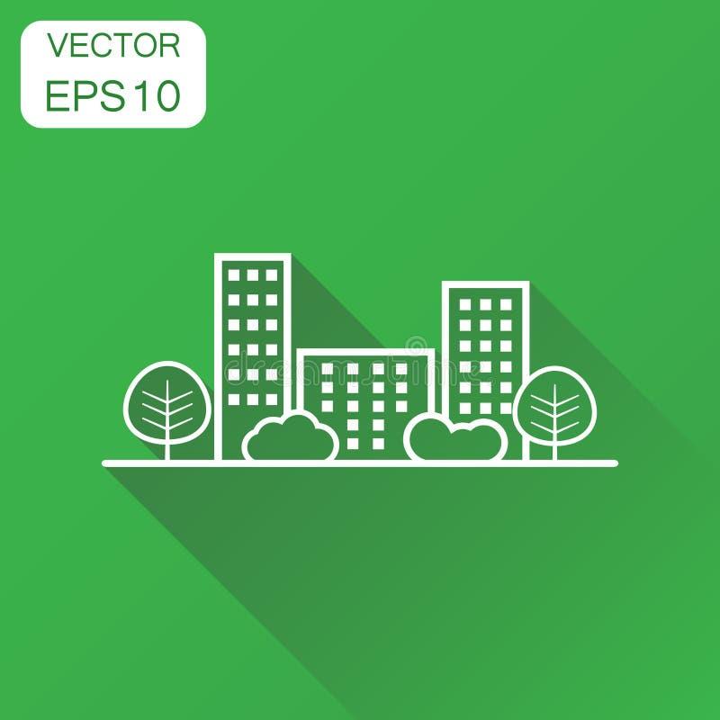 Значок здания города Линия пиктограмма концепции дела городка вектор иллюстрация вектора