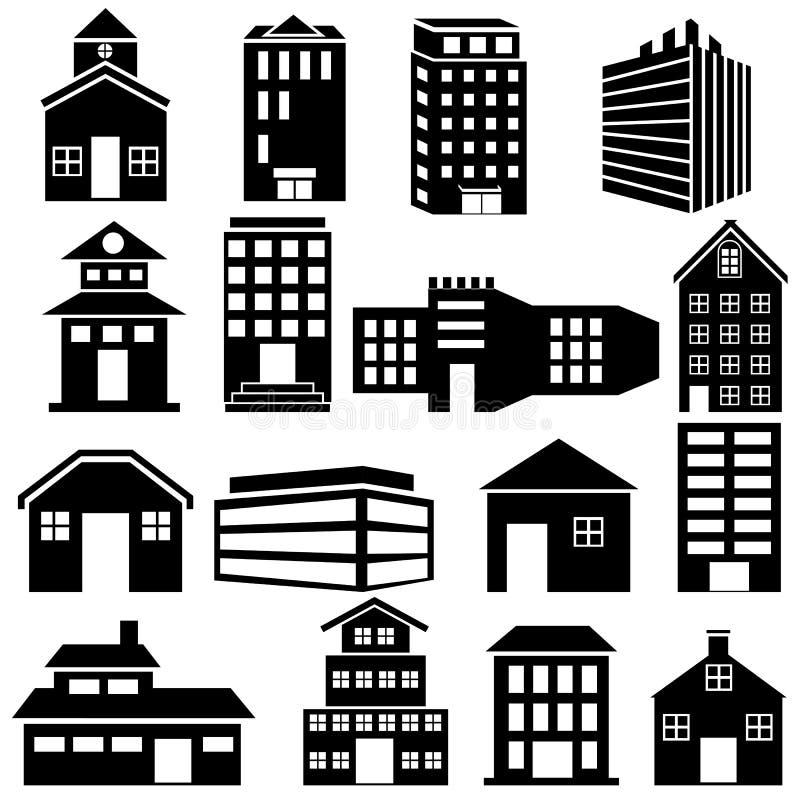 Значок здания и небоскреба иллюстрация вектора