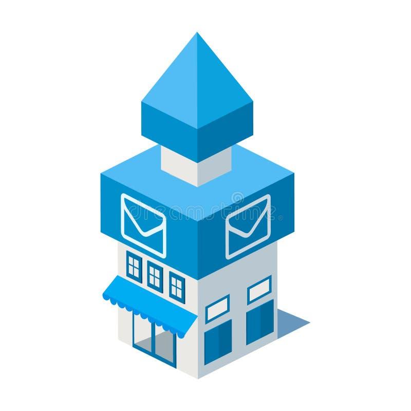 Значок здания почтового отделения вектора равновеликий иллюстрация штока