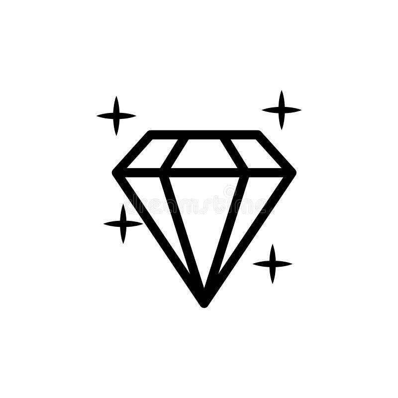 Значок диаманта также вектор иллюстрации притяжки corel Сияющий кристаллический знак Гениальный камень Черный ход изолированный н иллюстрация вектора