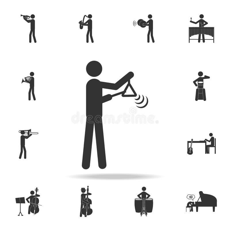 Значок игрока аппаратуры треугольника Детальный комплект значков музыки Наградной качественный графический дизайн Один из значков иллюстрация вектора