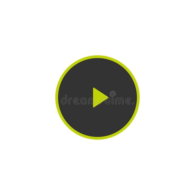 Значок игры в черном круге с зеленым планом Значок фильма или средств массовой информации плоско кнопка бесплатная иллюстрация