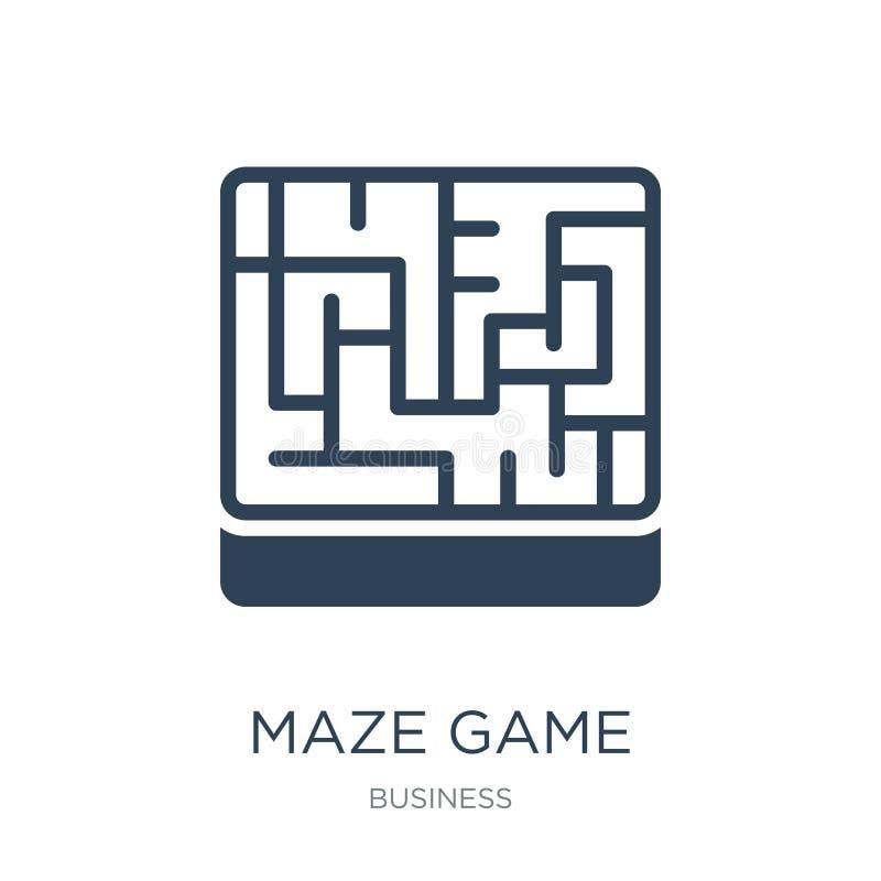 значок игры лабиринта в ультрамодном стиле дизайна значок игры лабиринта изолированный на белой предпосылке квартира значка векто бесплатная иллюстрация