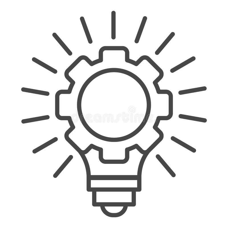 Значок идеи шарика колеса шестерни, стиль плана иллюстрация вектора