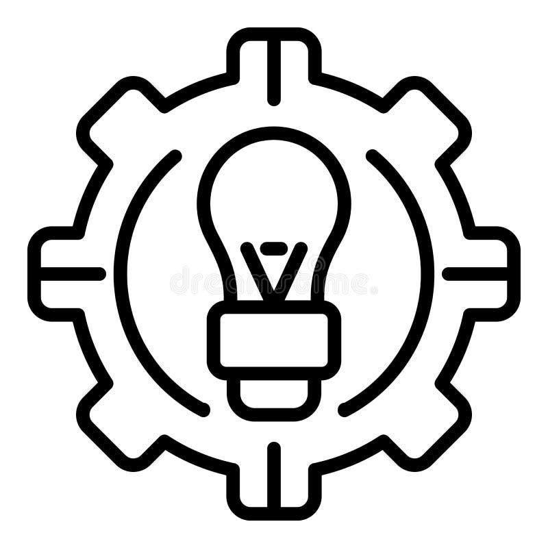 Значок идеи шестерни Ai, стиль плана иллюстрация вектора