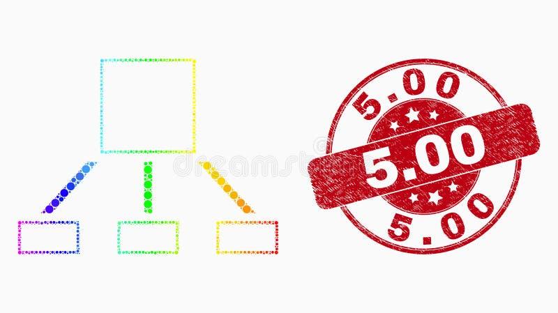 Значок иерархии пиксела вектора и дистресс покрашенные радугой 5 Уплотнение 00 иллюстрация штока