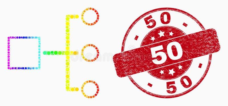 Значок иерархии точки спектра вектора и поцарапанное уплотнение 50 бесплатная иллюстрация