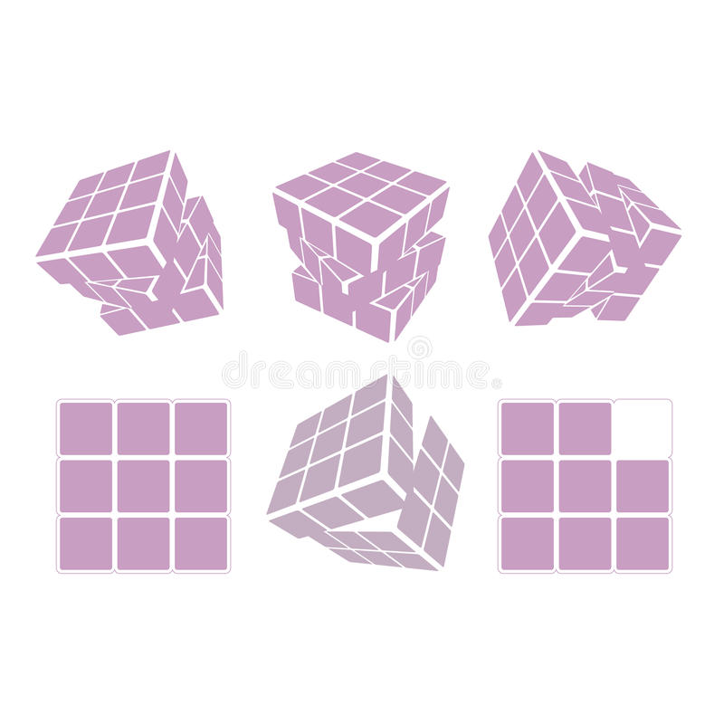 Значок дизайна логотипа куба ` s Rubik, иллюстрация вектора Геометрическая картина знака иллюстрация вектора