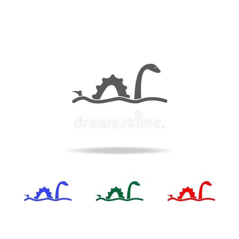 Значок изверга Лох-Несс Элементы значков Великобритании multi покрашенных Наградной качественный значок графического дизайна Прос бесплатная иллюстрация