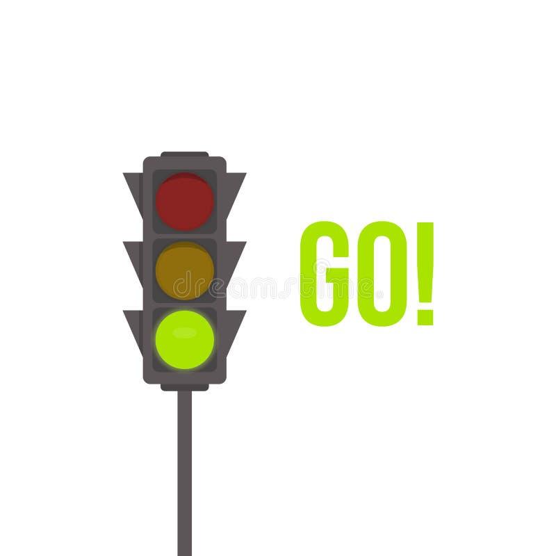 Значок изолированный светофором Иллюстрация вектора зеленого света Пересечение дороги, регулированный знак, правила движения конс иллюстрация вектора