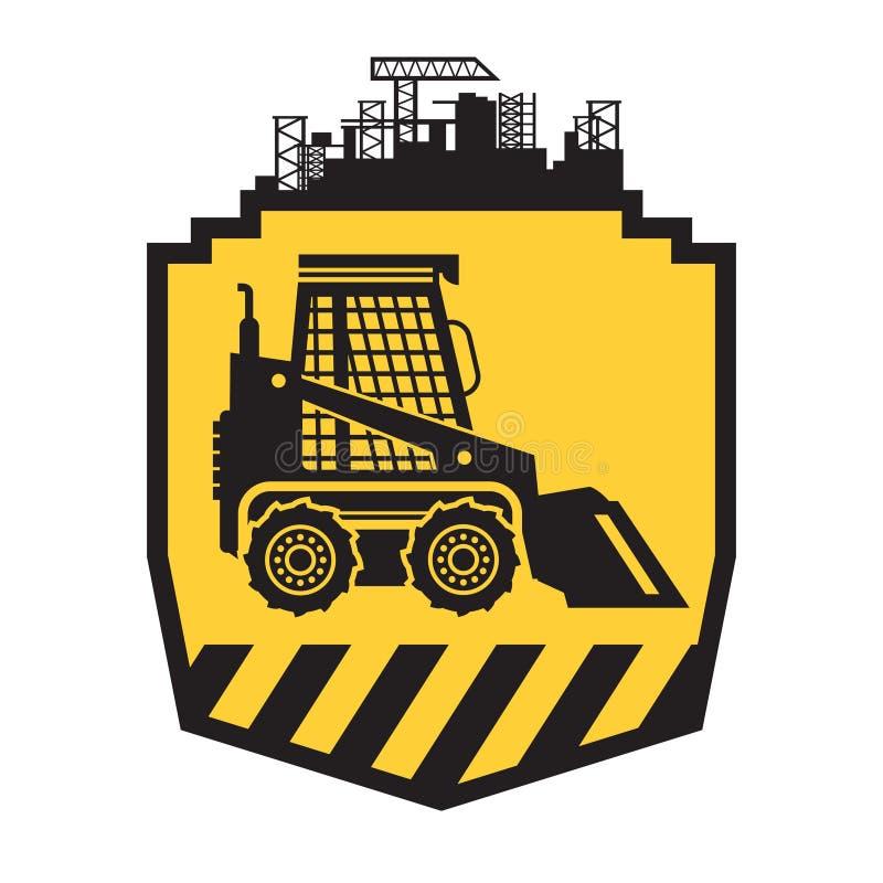 Значок или знак трактора на желтом цвете иллюстрация вектора