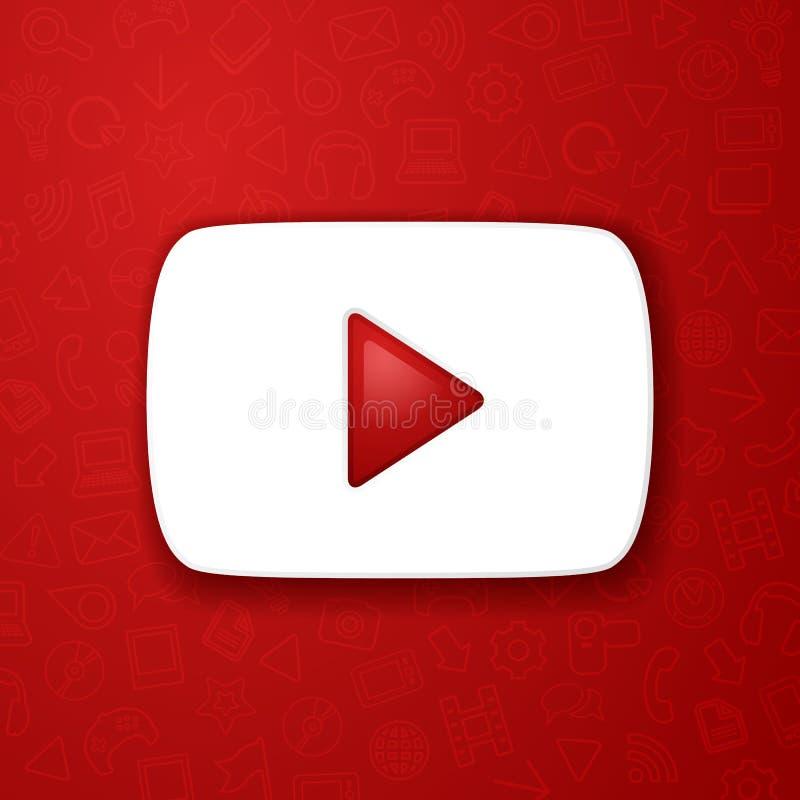 Значок иллюстрации вектора вы кнопка игры трубки, видеопоток иллюстрация штока