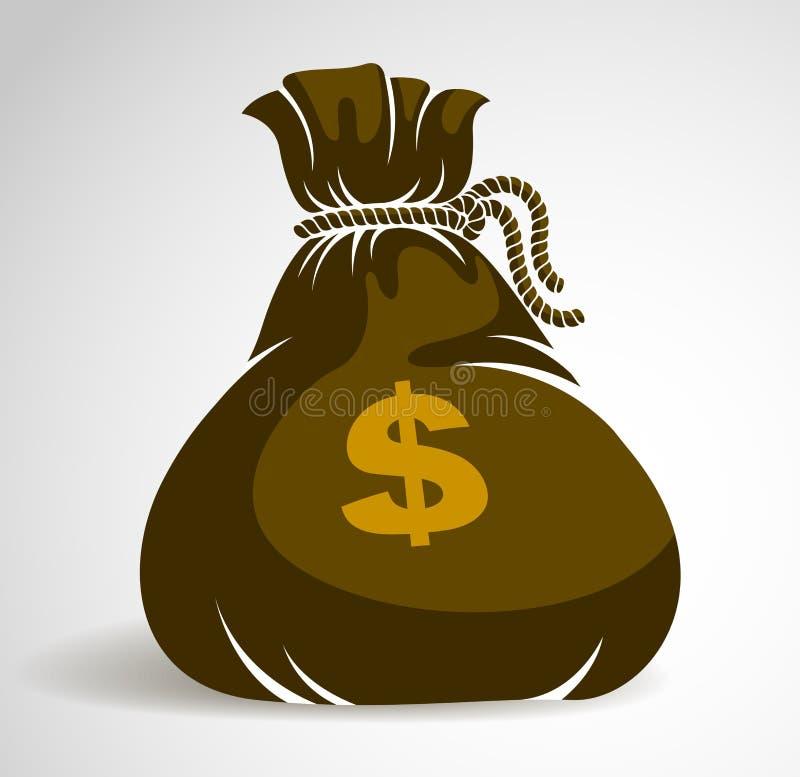 Значок иллюстрации вектора сумки денег Moneybag примитивный или логотип, дело иллюстрация штока
