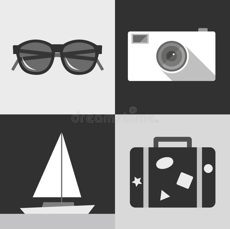Значок иллюстрации вектора установил перемещения: солнечные очки, камера фото, корабль, чемодан иллюстрация штока