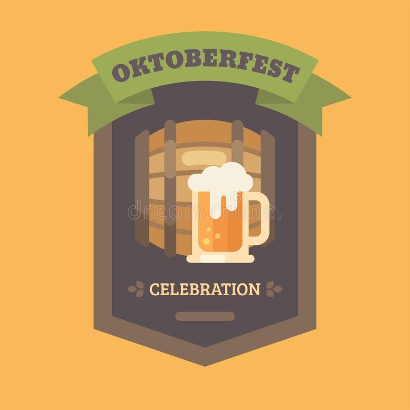 Значок иллюстрации фестиваля пива Oktoberfest плоский иллюстрация штока