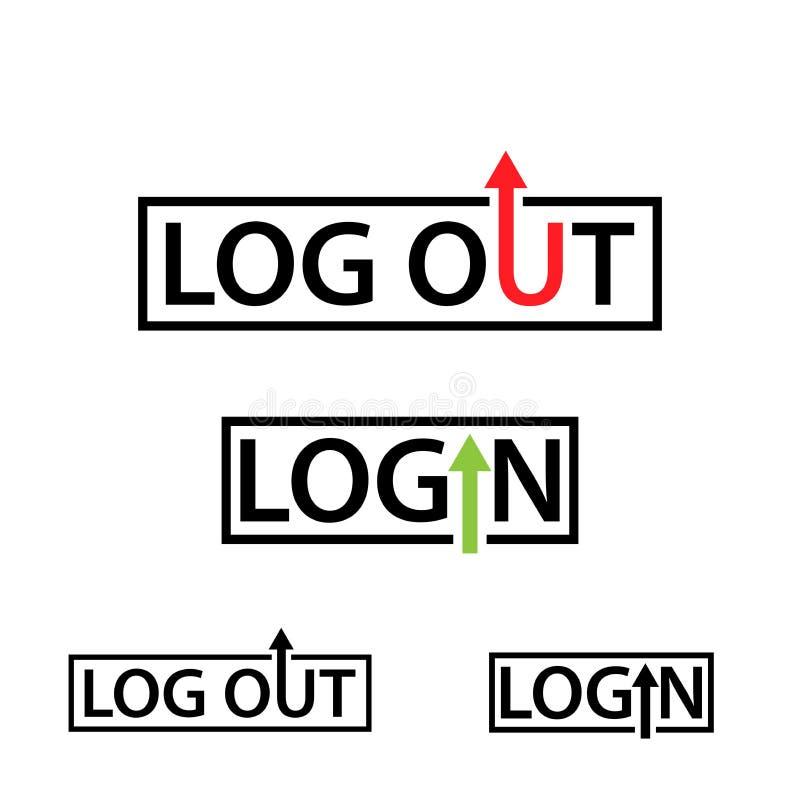 Значок имени пользователя и выхода из системы с людьми Плоский дизайн бесплатная иллюстрация