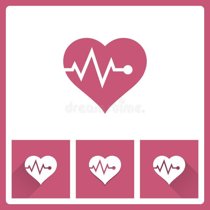 Значок ИМПа ульс сердца на белой предпосылке бесплатная иллюстрация