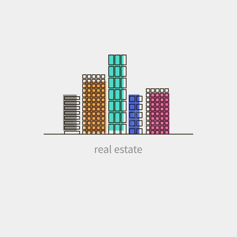 Значок имущественного агентства недвижимости иллюстрация штока