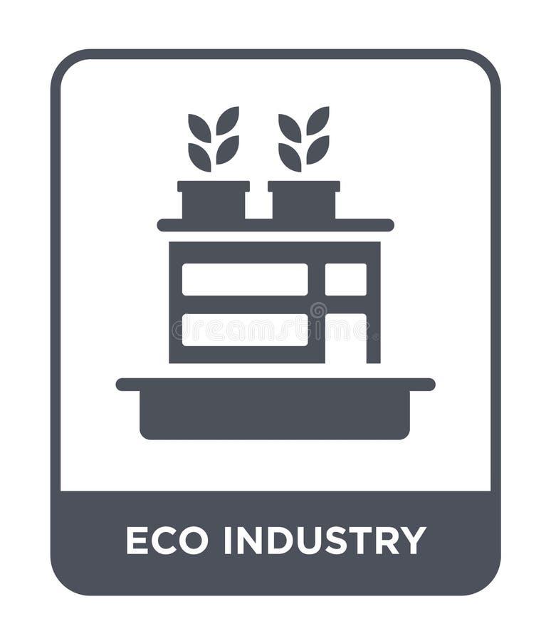 значок индустрии eco в ультрамодном стиле дизайна значок индустрии eco изолированный на белой предпосылке значок вектора индустри иллюстрация штока