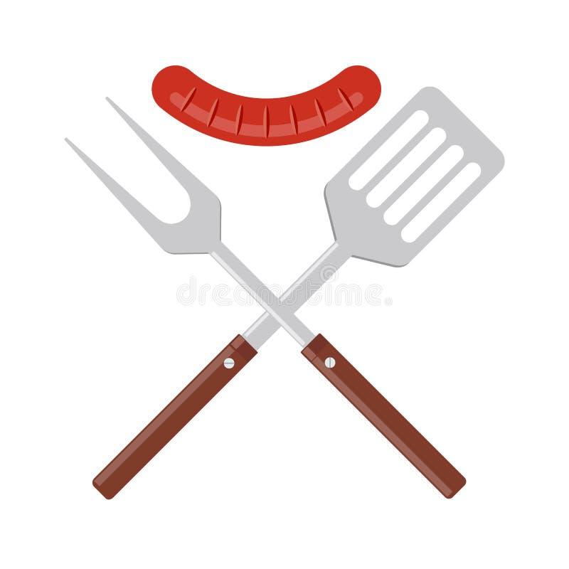 Значок инструментов BBQ или гриля Пересеченные вилка и шпатель барбекю с зажаренной сосиской иллюстрация вектора