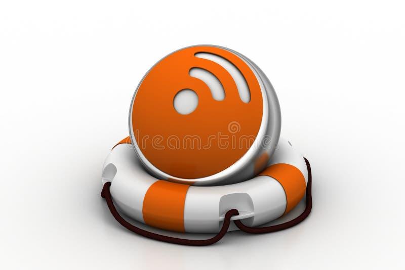 Значок интернета с lifebuoy иллюстрация штока