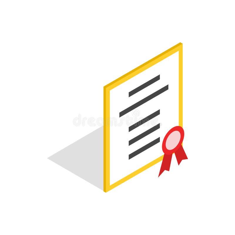 Значок диплома или сертификата, равновеликий стиль 3d иллюстрация вектора