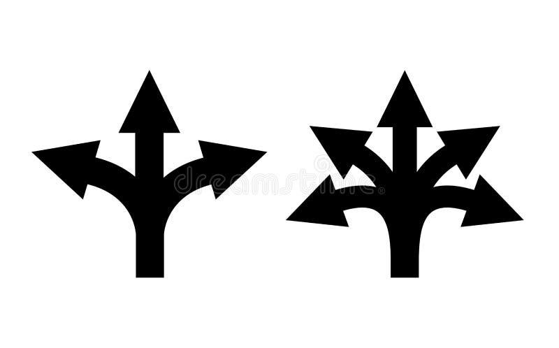 Значок дирекционной стрелки много путей иллюстрация вектора
