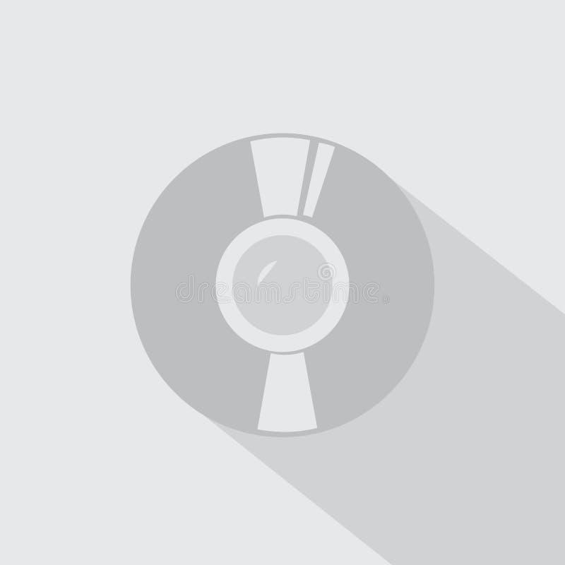 Значок диска КОМПАКТНОГО ДИСКА с тенью иллюстрация штока