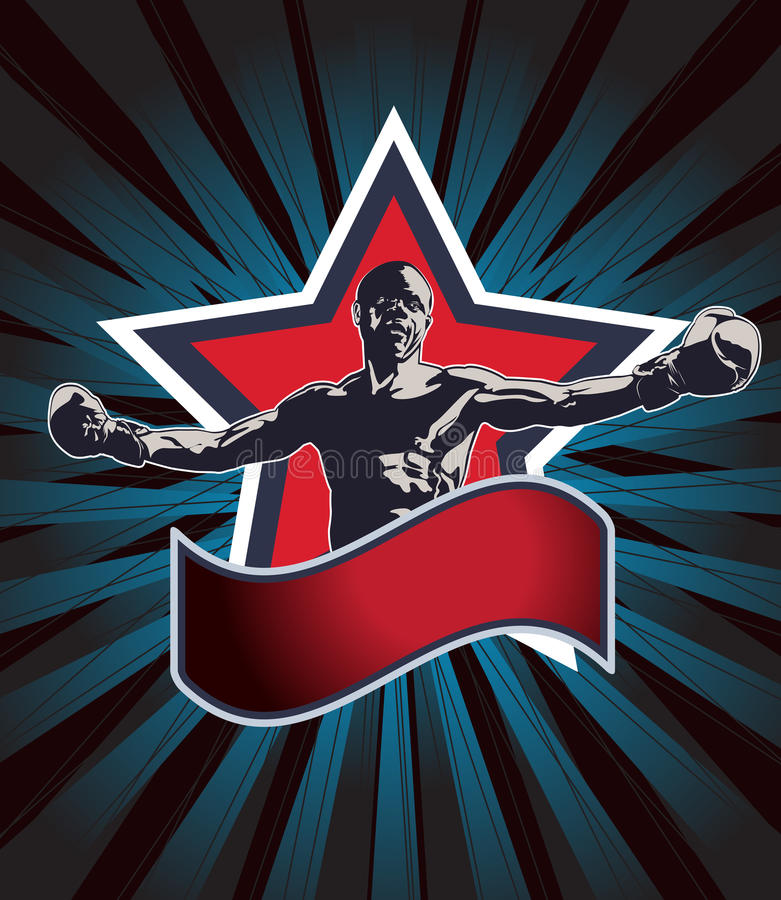 Значок или эмблема чемпиона бокса бесплатная иллюстрация