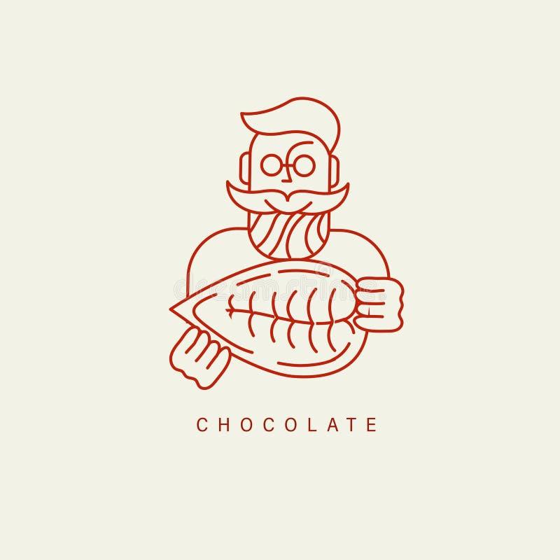 Значок и логотип вектора для шоколада и помадки иллюстрация вектора