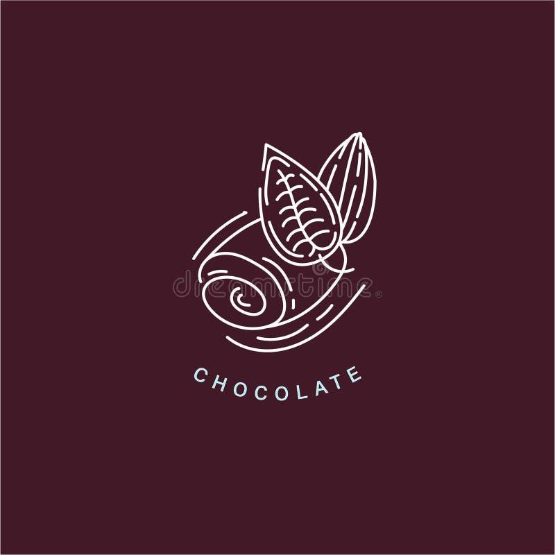 Значок и логотип вектора для шоколада и помадки иллюстрация штока