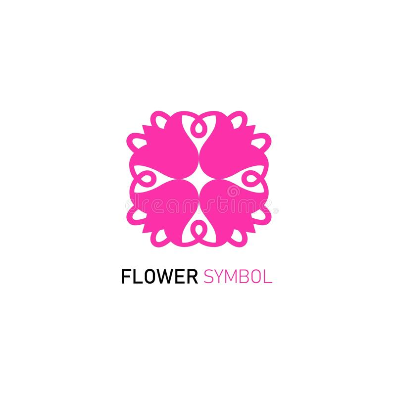 Значок и логотип вектора флористические конструируют шаблон в плоском стиле - абстрактном вензеле иллюстрация штока