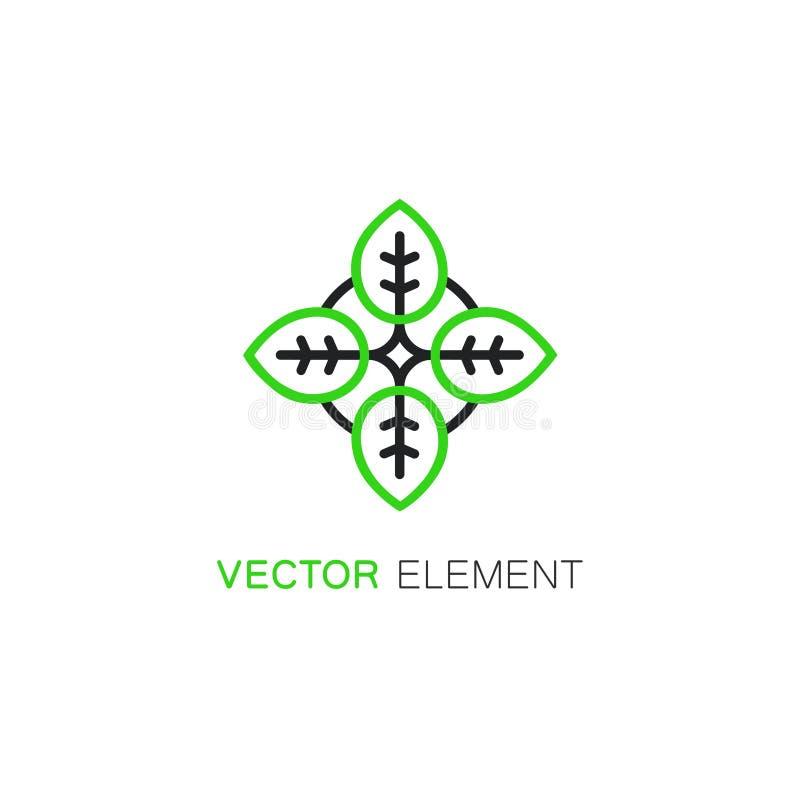Значок и логотип вектора флористические конструируют шаблон в линейном стиле иллюстрация вектора