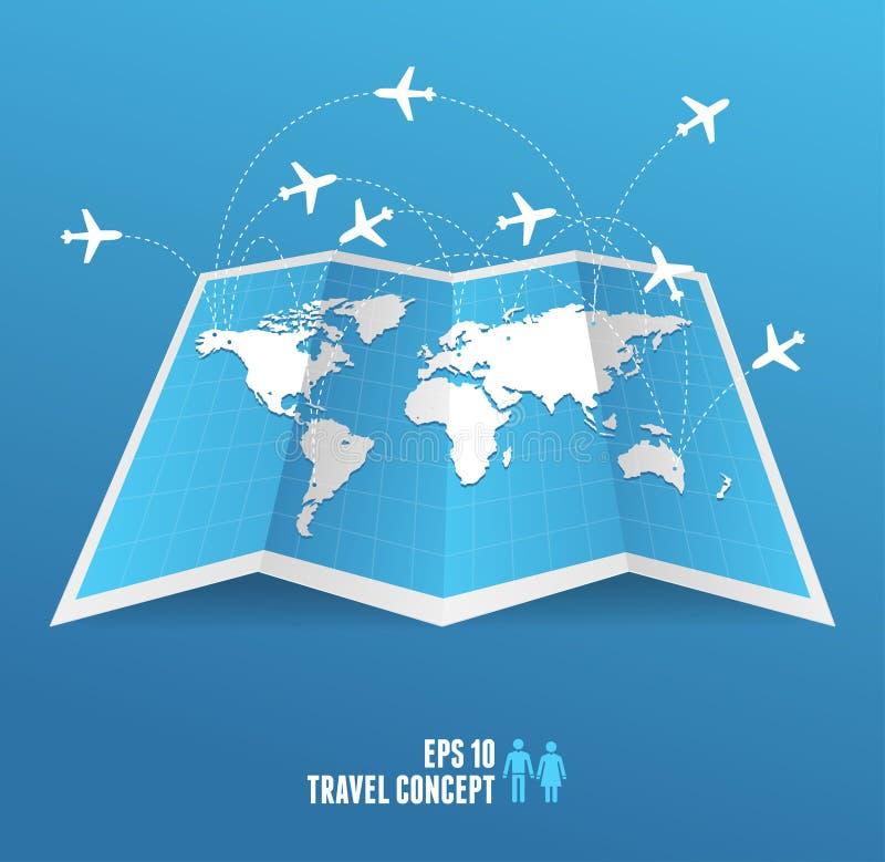 Значок и самолет карты Vectorblue. иллюстрация штока