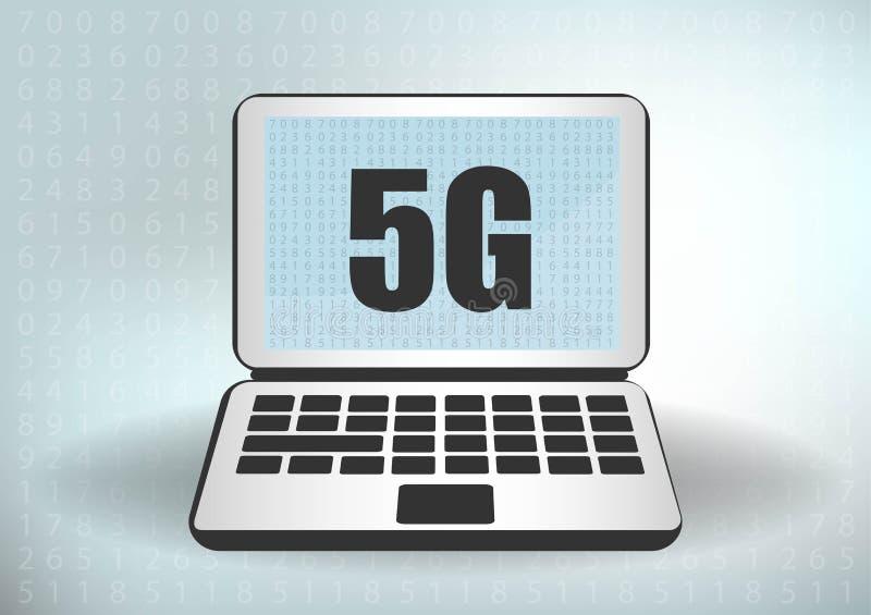 значок и смартфон сети 5G новое беспроводное соединение wifi интернета 5G Пятое новаторское поколение глобального быстрого хода иллюстрация штока