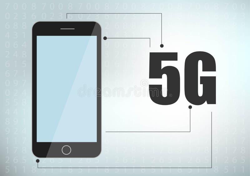 значок и смартфон сети 5G новое беспроводное соединение wifi интернета 5G Пятое новаторское поколение глобального быстрого хода иллюстрация вектора