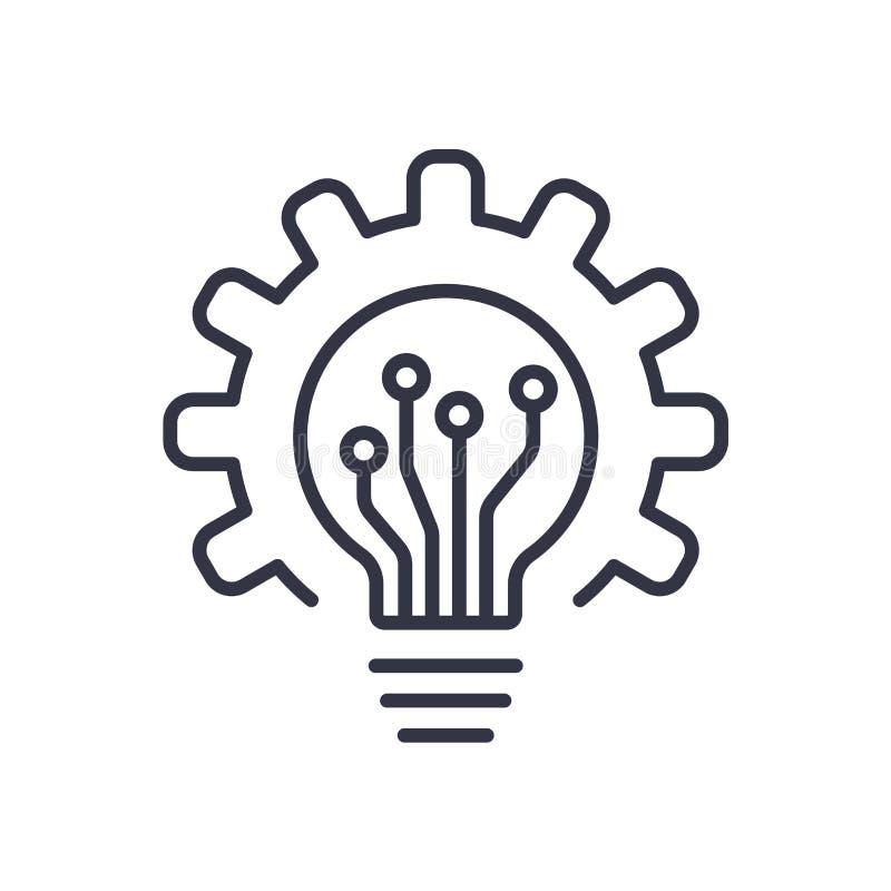 Значок и шестерня электрической лампочки Лампочка и cogwheel внутрь Концепция логотипа Современная плоская линия значок вектора иллюстрация штока