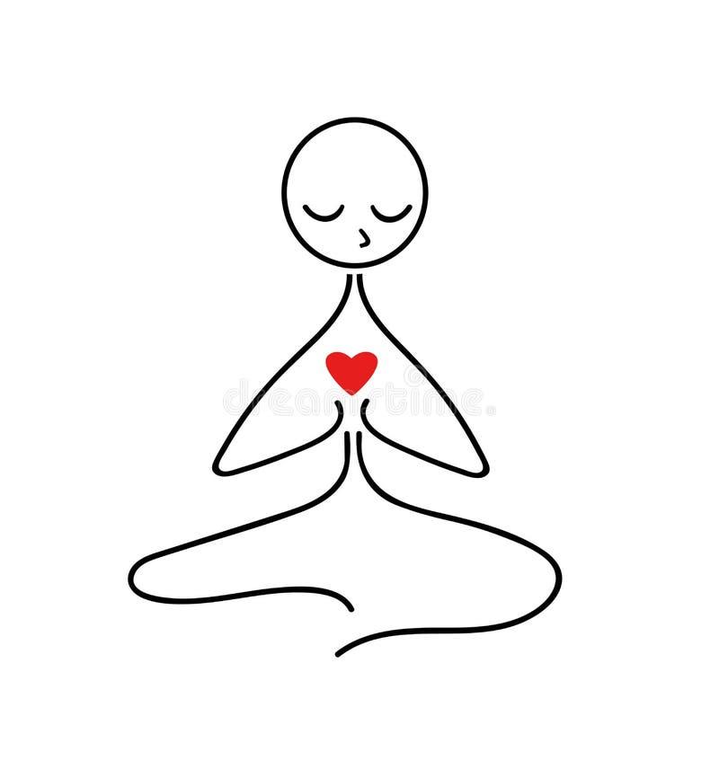 Значок йоги изолированный на белой предпосылке Логотип женщины йоги вектора в линии стиле бесплатная иллюстрация