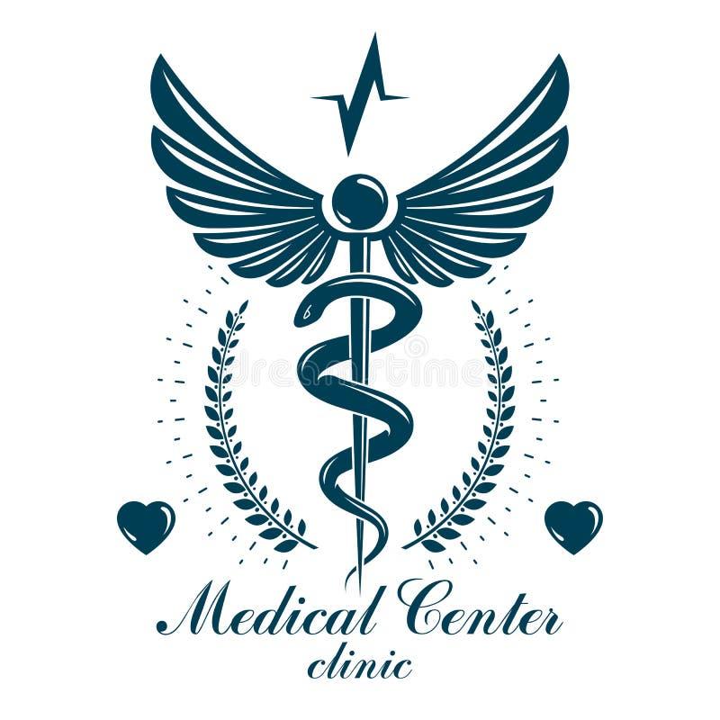Значок кадуцея фармации, медицинский логотип созданный с формой сердца и символ диаграммы электрокардиограммы Клиника диагноза ка иллюстрация штока