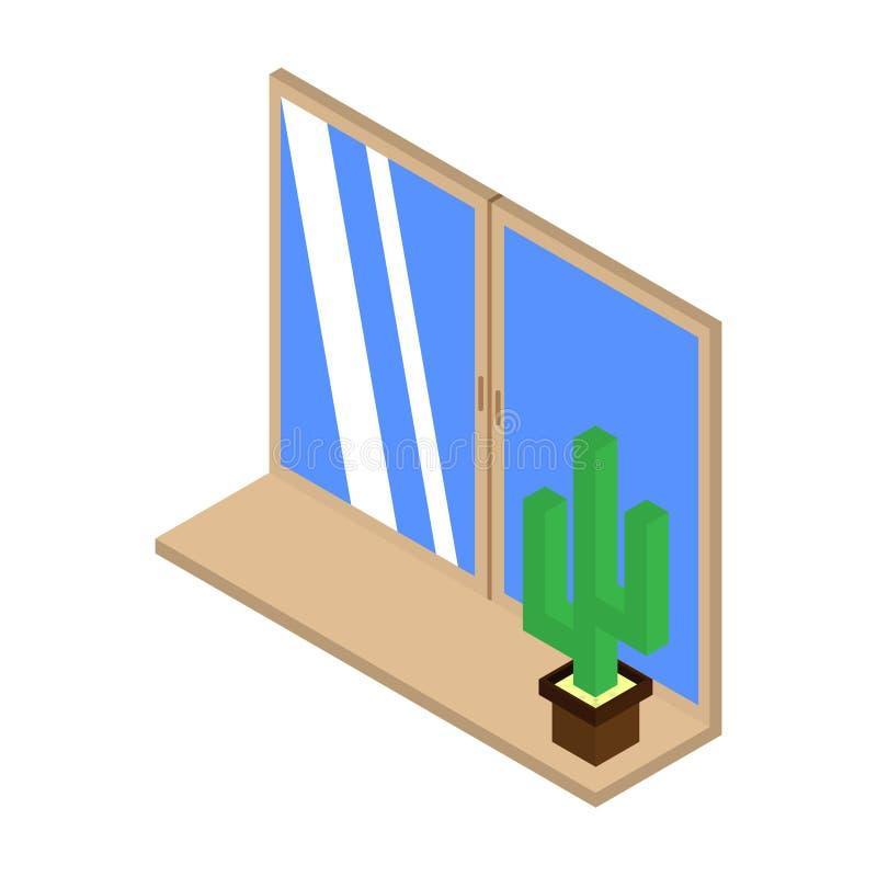 Значок кактуса на windowsill Равновеликая иллюстрация вектора вектор для вебсайта бесплатная иллюстрация