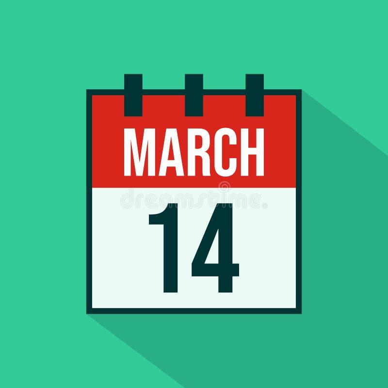Значок календаря 14-ое марта - вектора бесплатная иллюстрация