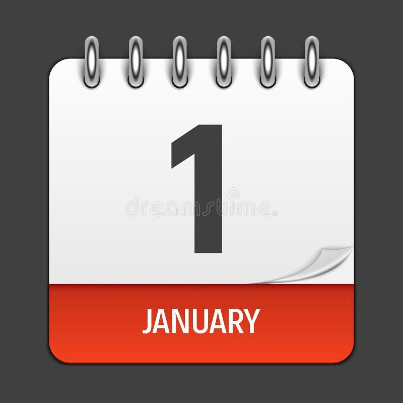 Значок календаря 1-ое января ежедневный Эмблема иллюстрации вектора бесплатная иллюстрация
