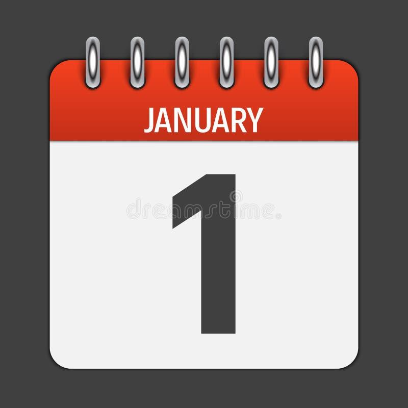 Значок календаря 1-ое января ежедневный Эмблема иллюстрации вектора иллюстрация вектора