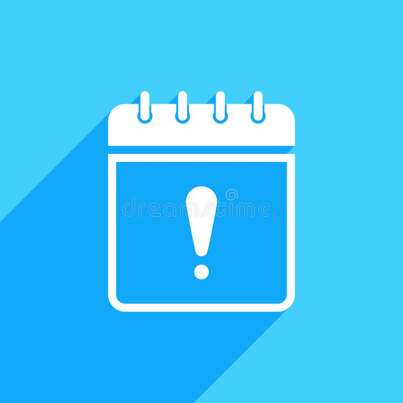 Значок календаря с восклицательным знаком Calendar значок и сигнал тревоги, ошибка, сигнал тревоги, концепция опасности иллюстрация вектора