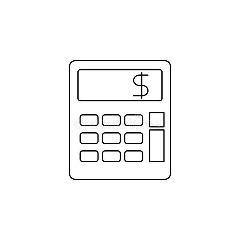 Значок калькулятора Элемент значка банка для передвижных apps концепции и сети Тонкая линия значок для дизайна вебсайта и развити иллюстрация вектора