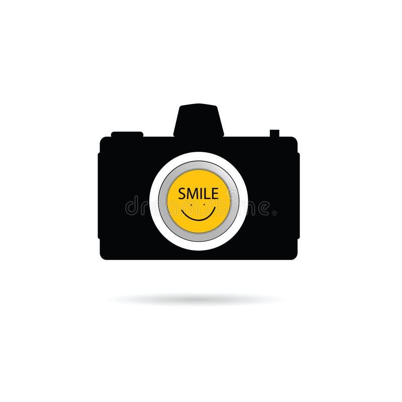 Значок камеры с вектором символа улыбки иллюстрация вектора
