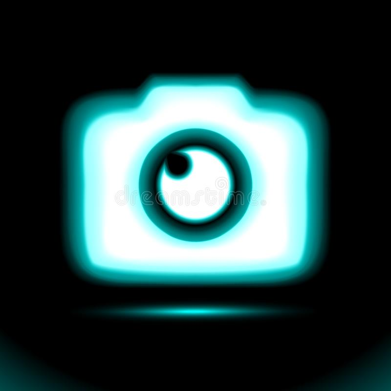 Значок камеры фото голубой накаляя неоновый Лампа, свет кнопки знака, символ для дизайна на черной предпосылке Дневной объект Нак иллюстрация штока