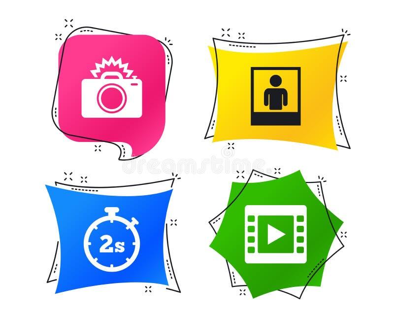 Значок камеры фото Проблесковый свет и видео- рамка вектор бесплатная иллюстрация