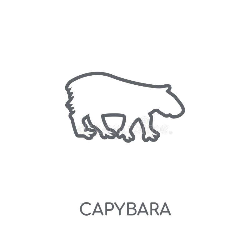 Значок капибары линейный Современная концепция логотипа капибары плана на wh бесплатная иллюстрация