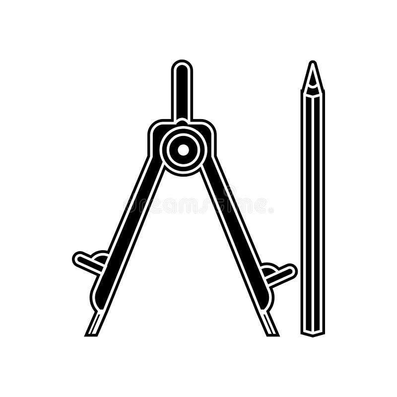 значок карандаша и компасов Элемент домашнего инструмента ремонта для мобильных концепции и значка приложений сети Глиф, плоский  иллюстрация вектора